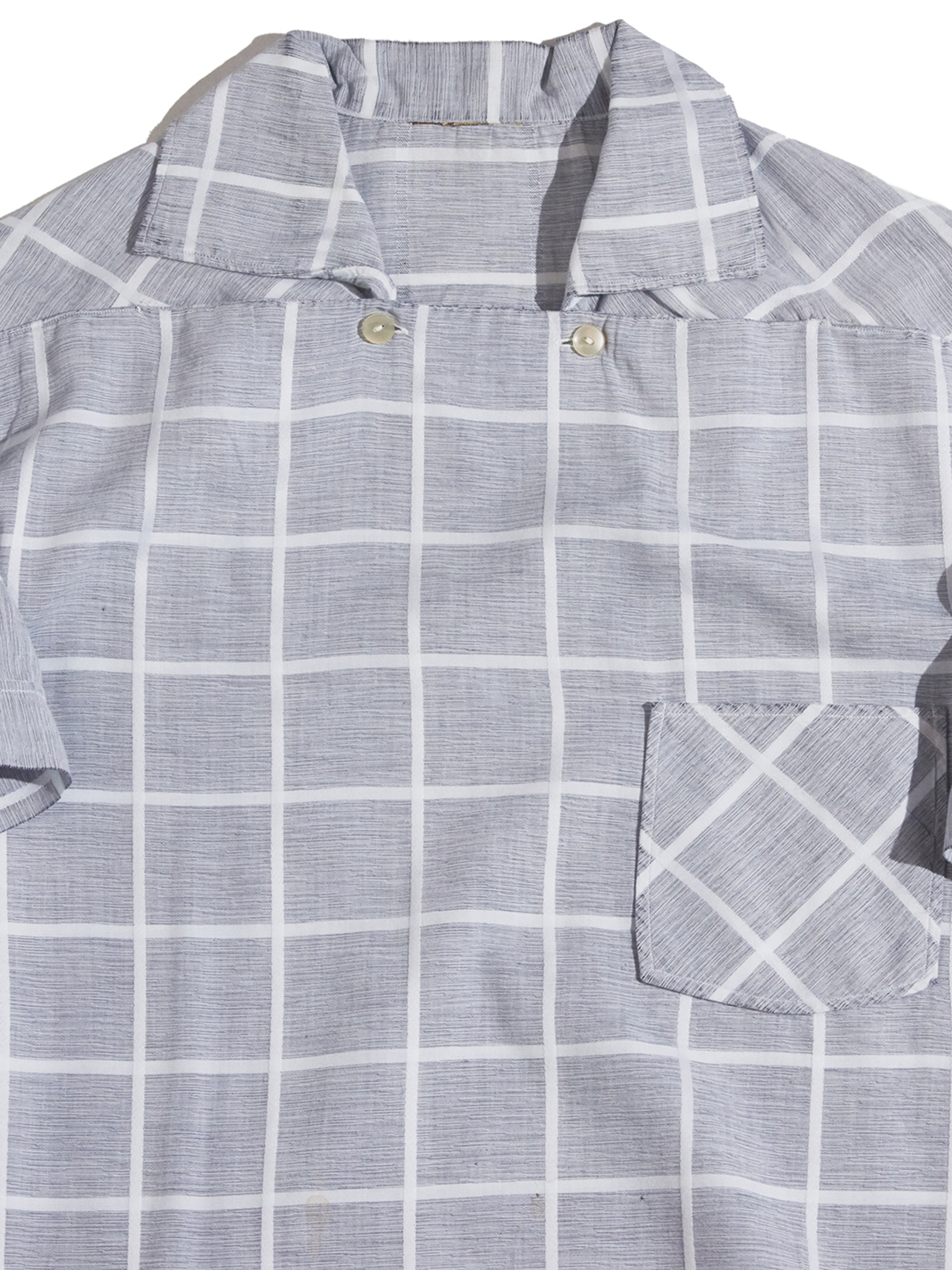 """1950s """"unknown"""" s/s peterpan check shirt -GREY-"""