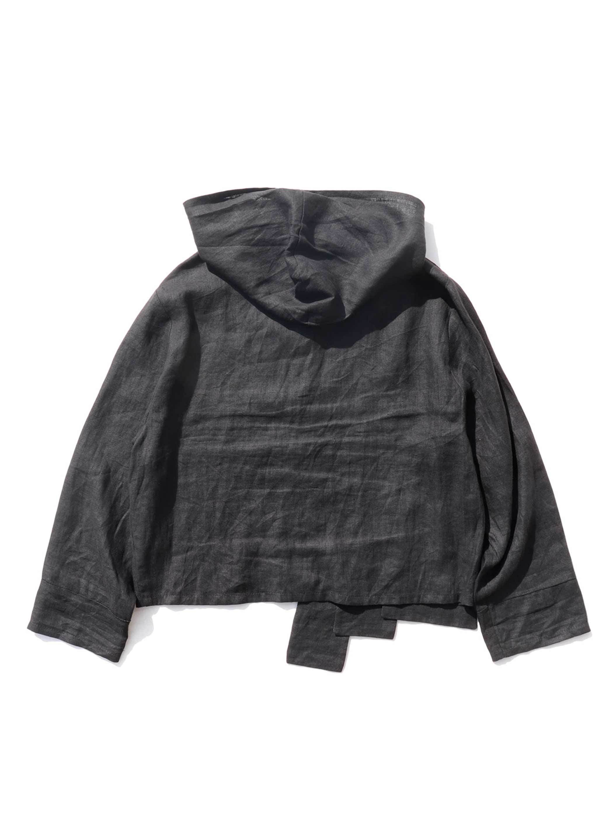 UNKNOWN Black French Linen Hooded Jacket [About Women's L]