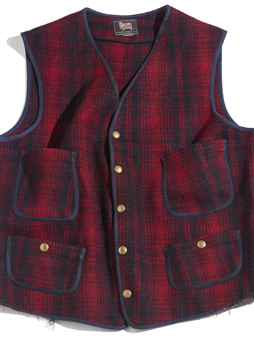 "1960s ""Woolrich"" wool melton check vest -RED- <SALE¥12000→¥9600>"
