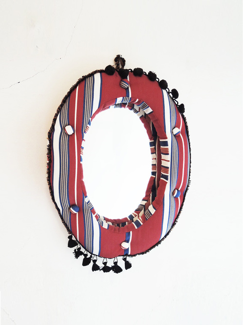 Wall mirror oval m red navy stripe