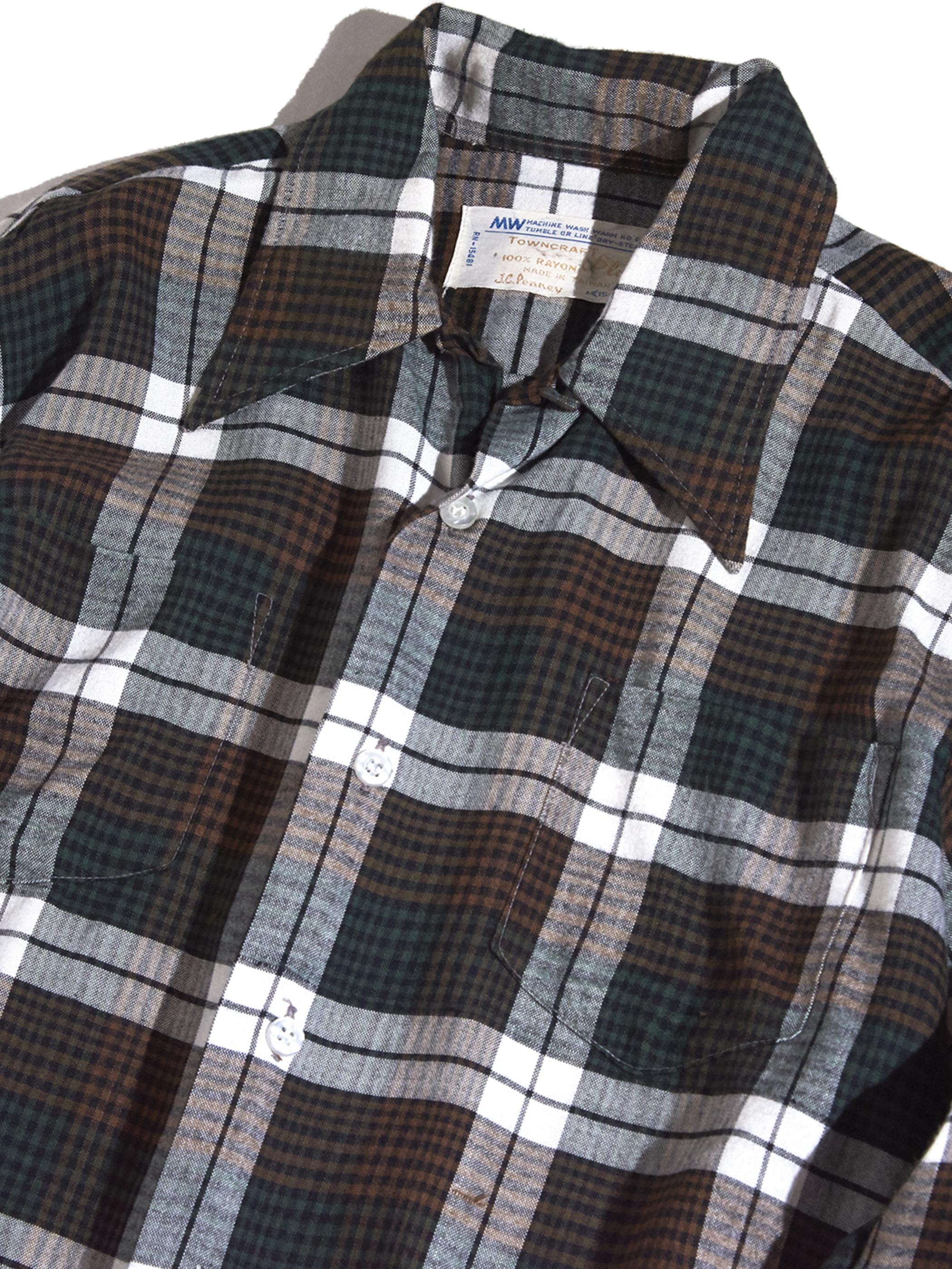 """1970s """"J.C.Penny"""" rayon check shirt -BLUE-"""
