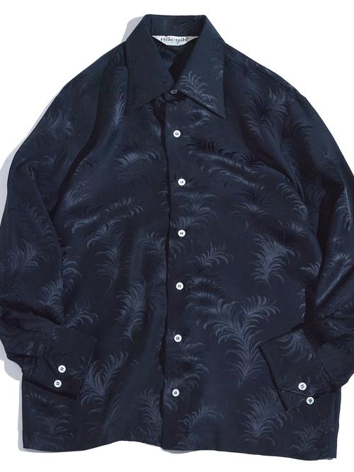 "1970s ""nik nik"" silk jacquard pattern shirt -BLACK-"