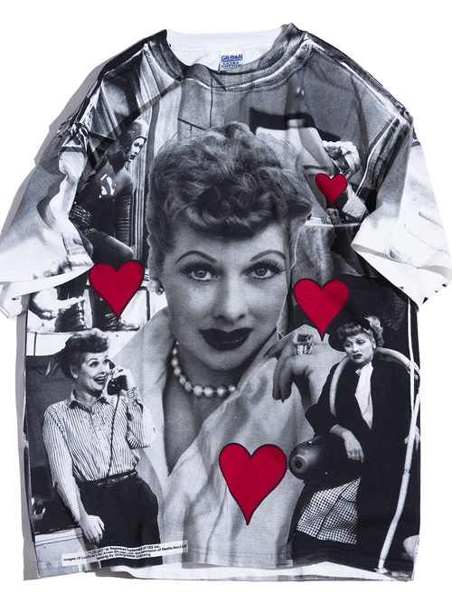 """2000s """"I LOVE LUCY"""" all pattern print tee -BLACK-"""
