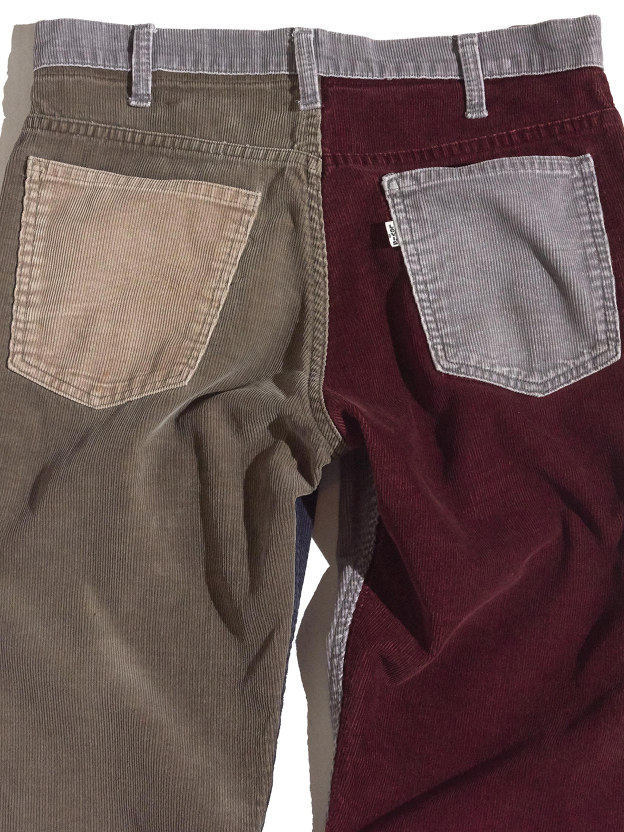 "1980s ""Levi's"" custom mede crazy pettern 519 corduroy pants #12"