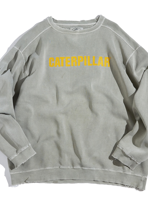 "1990s ""CATERPILLAR"" pigment dyed print sweat -KHAKI-"
