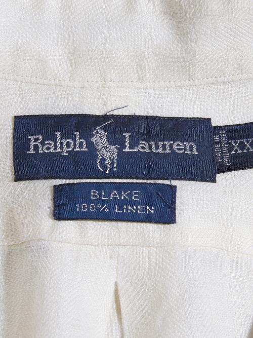 """1990s """"Ralph Lauren"""" BLAKE linen s/s B.D shirt -WHITE-"""