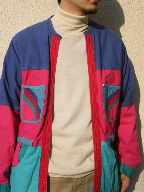 "1970s ""unknown"" reversible crazy patch work jacket -TURQUOISE-"