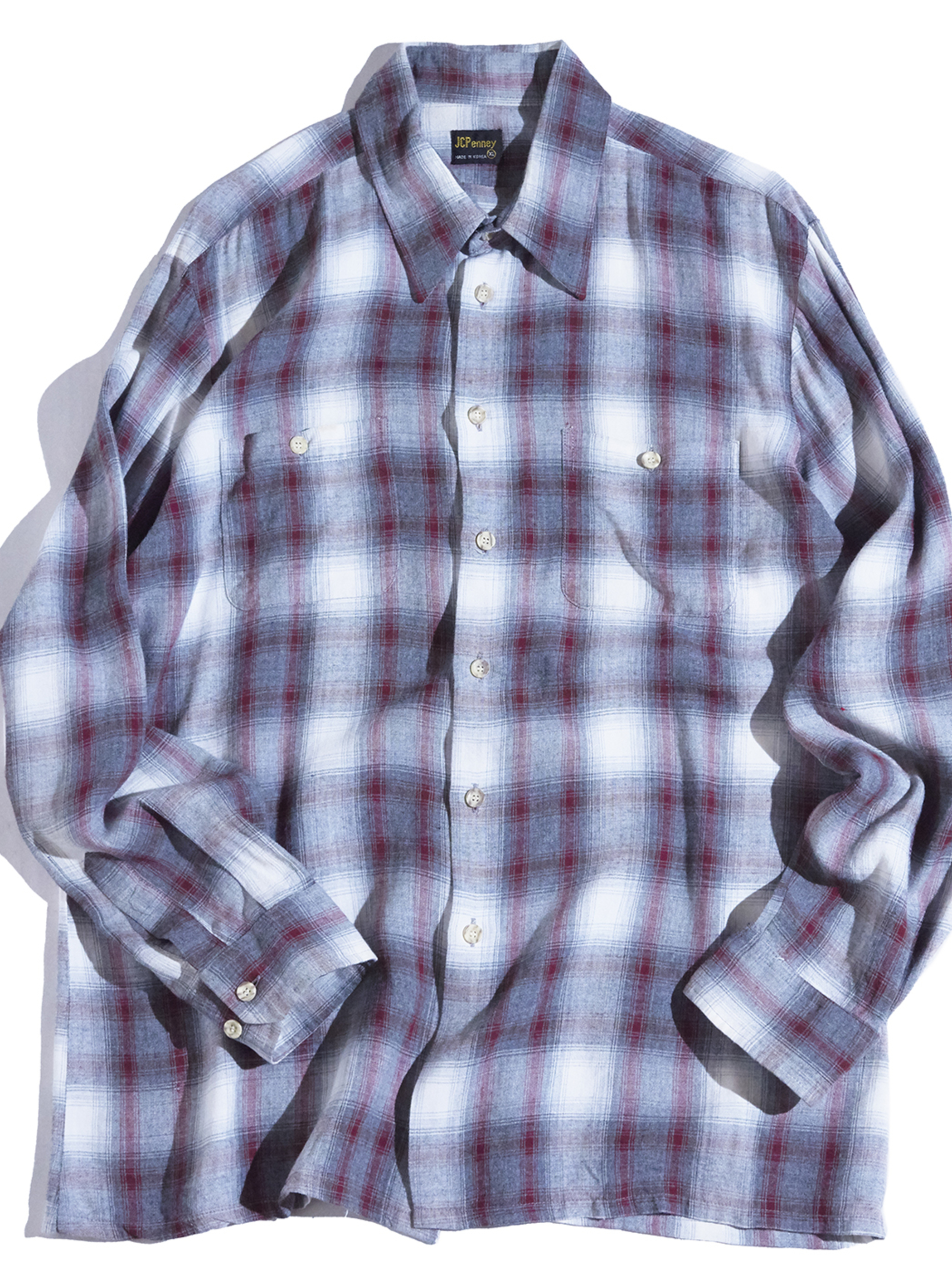 """1960s """"JC Penney"""" rayon ombre check shirt -GREY-"""