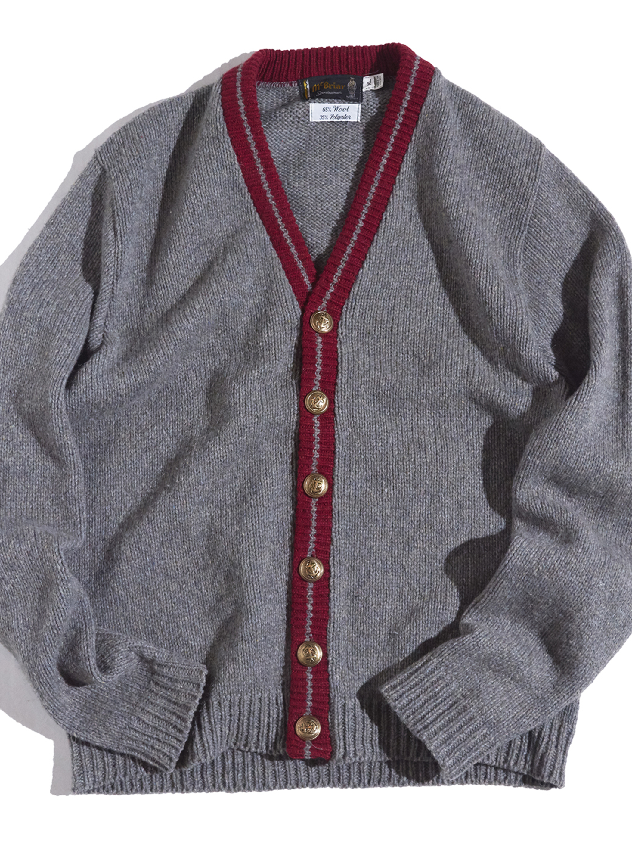 """1970s """"m'briar"""" wool knit cardigan -GREY-"""