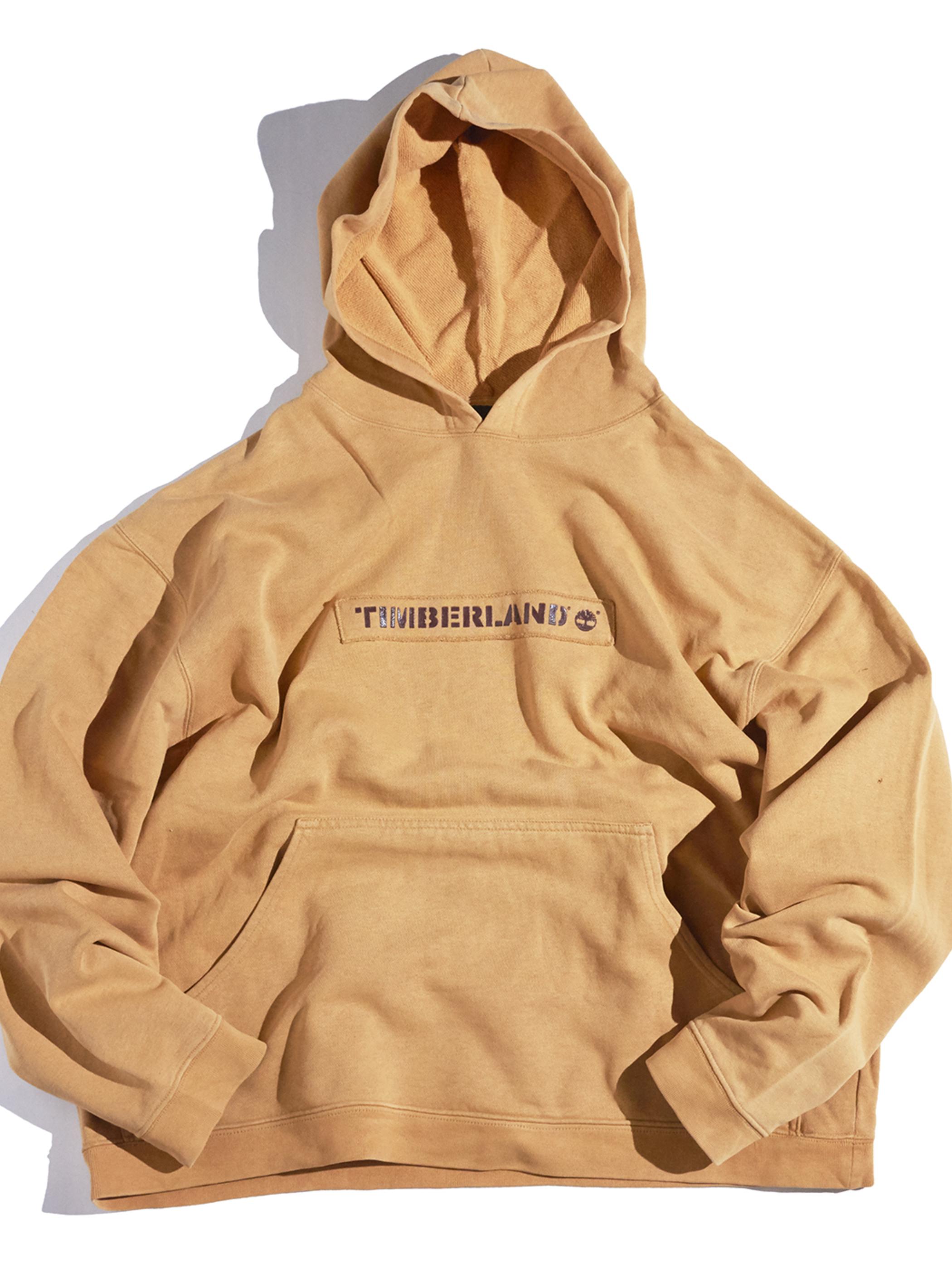 """1990s """"Timberland"""" print sweat hoodie -BROWN BEIGE-"""
