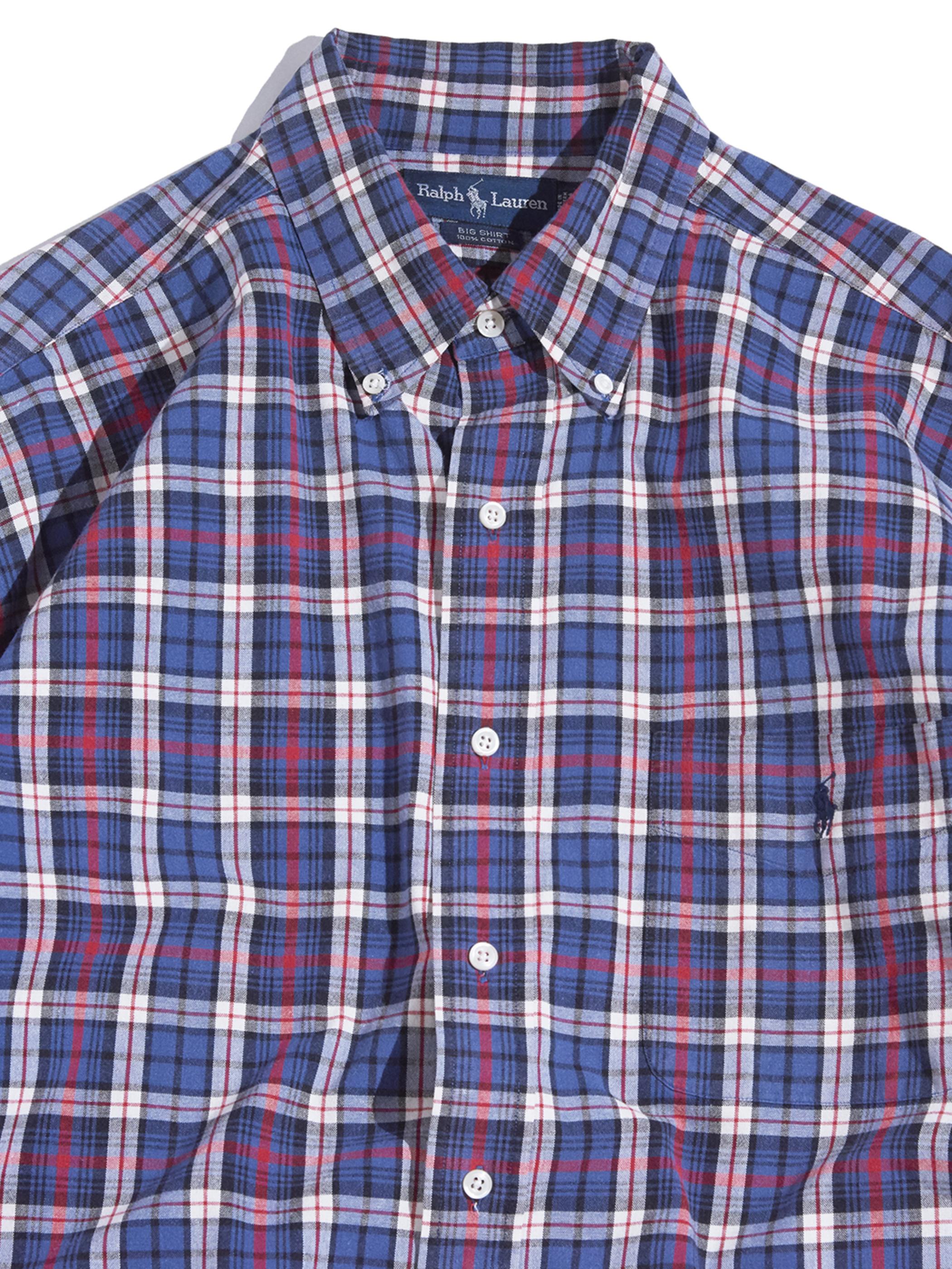 """1990s """"Ralph Lauren"""" BIG SHIRT cotton check B.D shirt -CHECK-"""