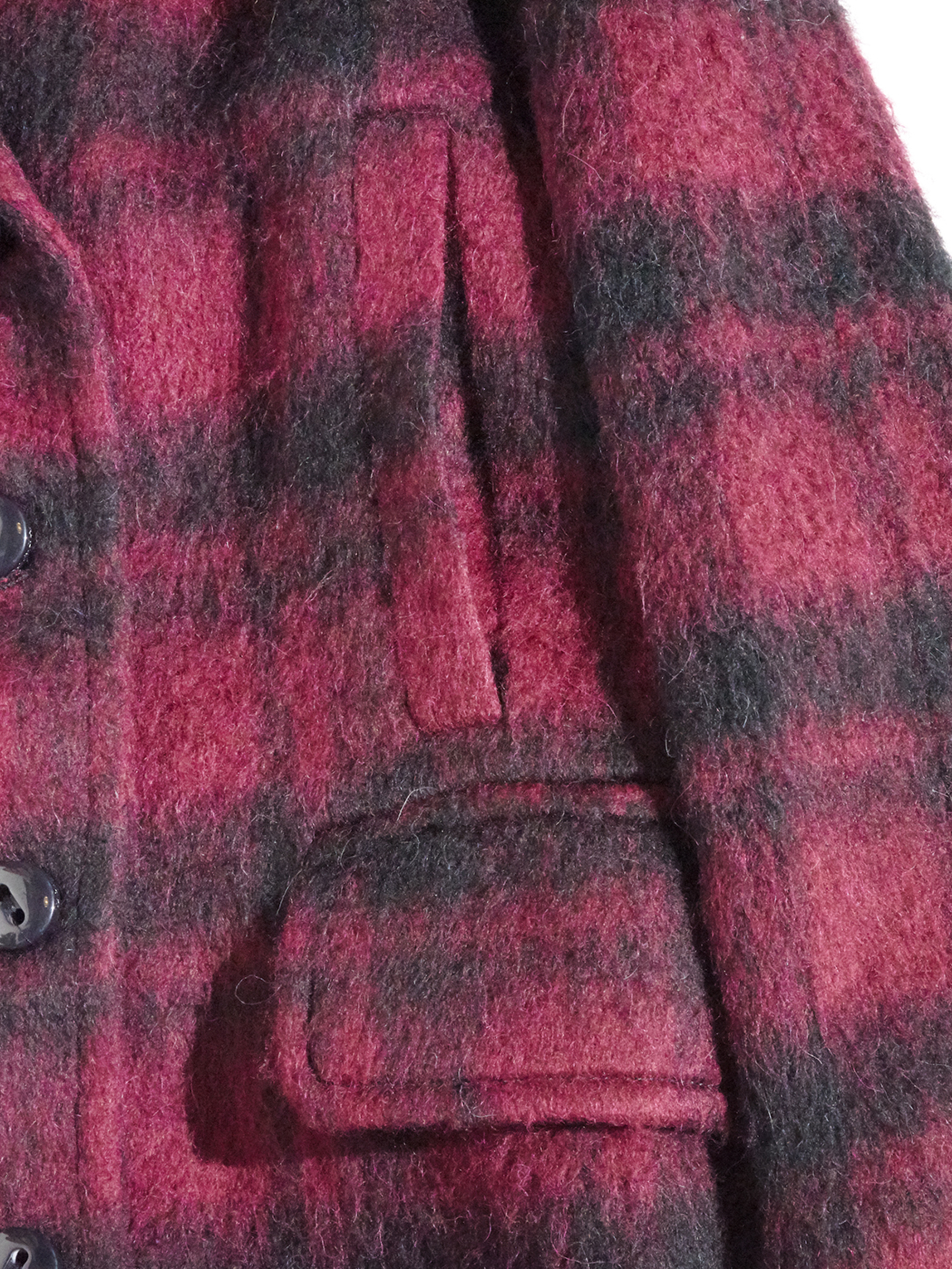 "2000s NOS ""COACH"" double breasted wool check coat -RED-"
