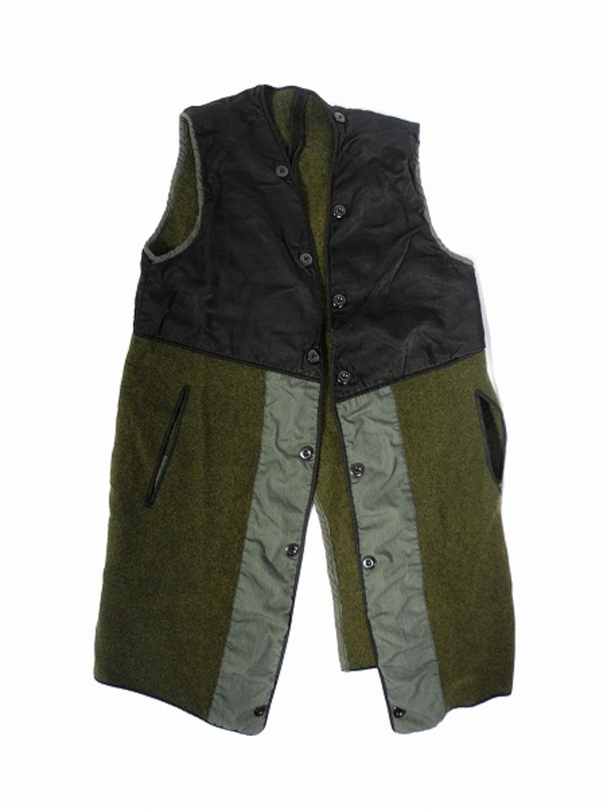 60's FRENCH ARMY LINER VEST BLACK OVER DYED