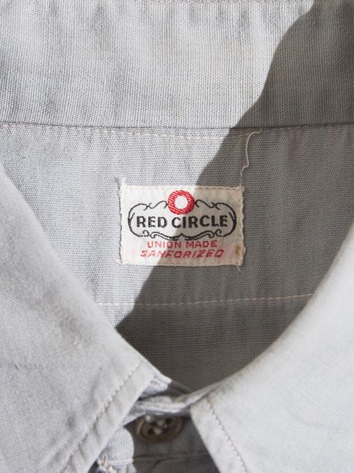 "1950s ""RED CIRCLE"" cotton work shirt -GRAY-"