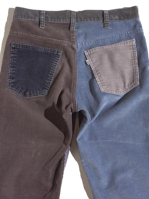 "1980s ""Levi's"" custom mede crazy pettern 519 corduroy pants #3"
