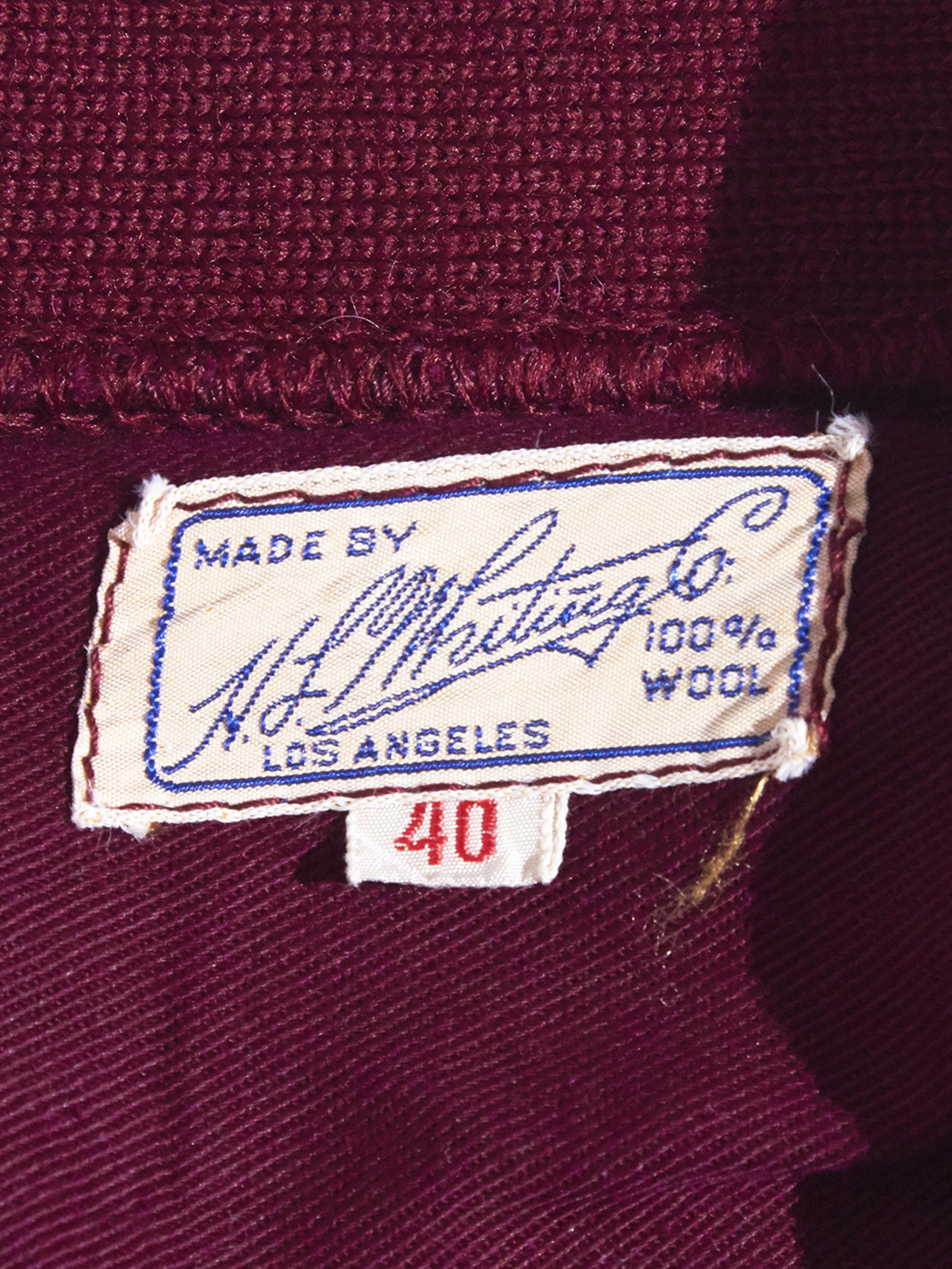 "1960s ""h.s.hunting co."" wool shooting knit -BURGANDY-"