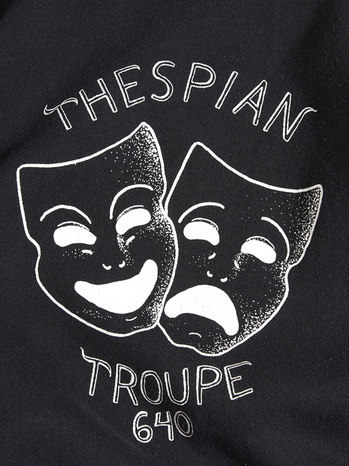 "1980s ""THESPIAN TROUPE 640"" print sweat -BLACK-"