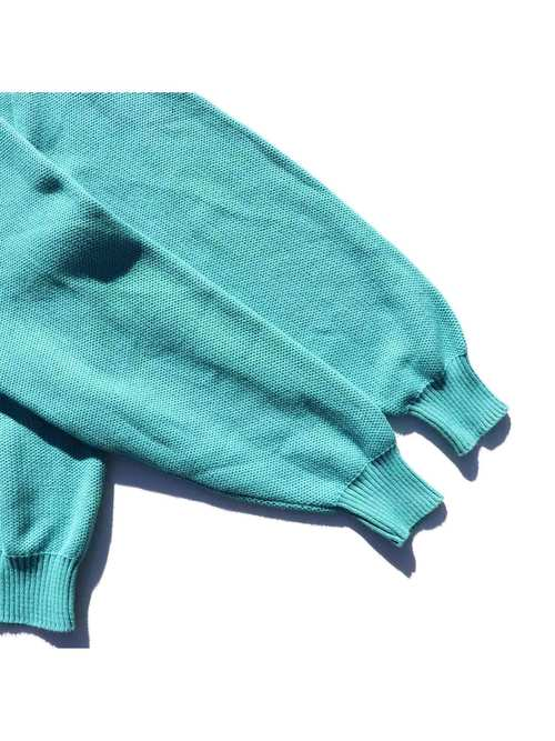 80's L.L.BEAN USA製 エメラルド コットンニットポロシャツ [L]