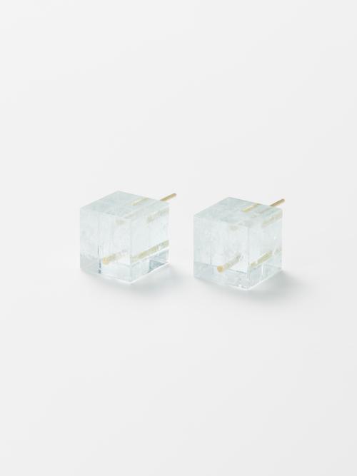 Tissue box ピアス(Aquamarine)