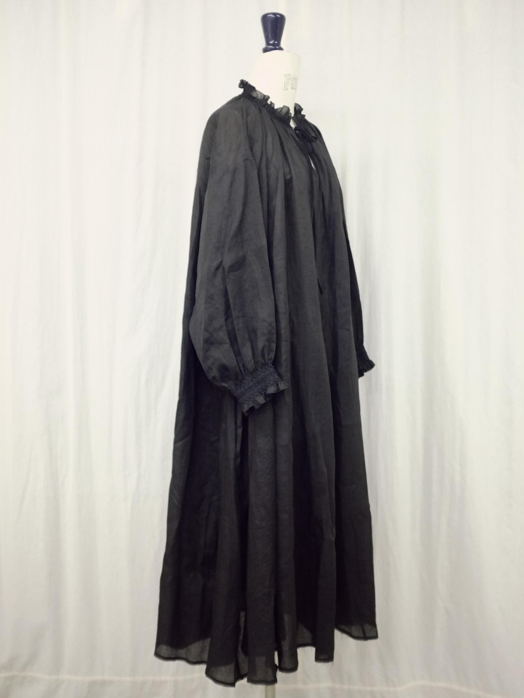 smocking  DRESS - col.black