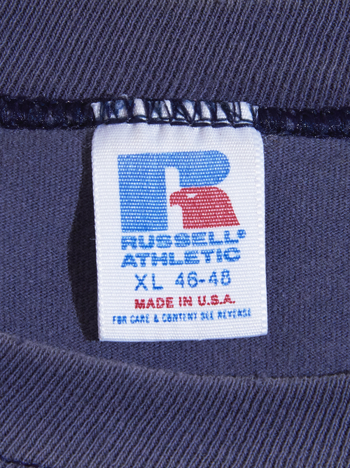 "Late 1990s ""RUSSELL ATHLETIC"" print tee boro -FADE NAVY-"