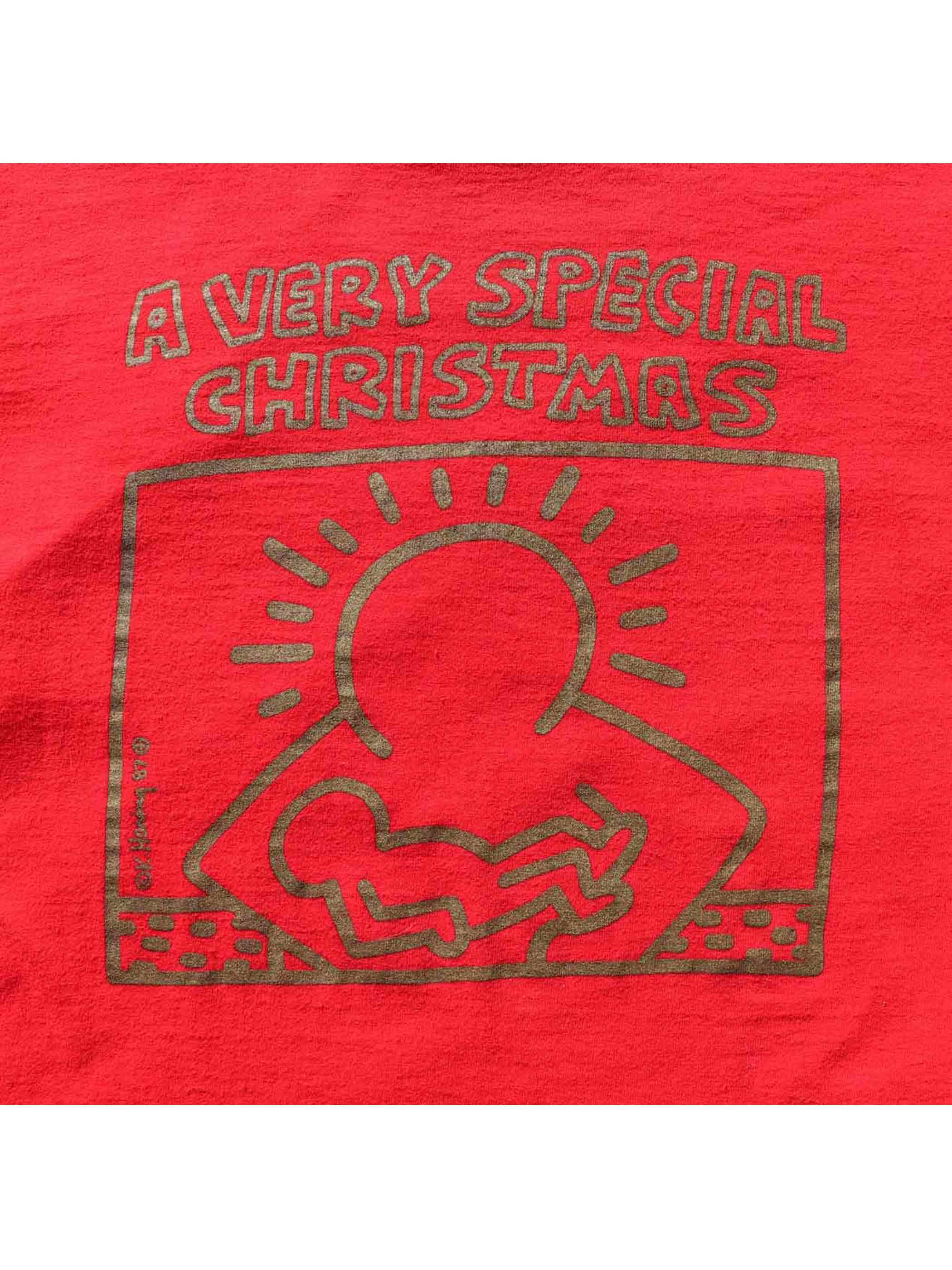 "80's ""A VERY SPECIAL CHRISTMAS"" キース・ヘリング ゴールドプリント プロモTシャツ [L]"