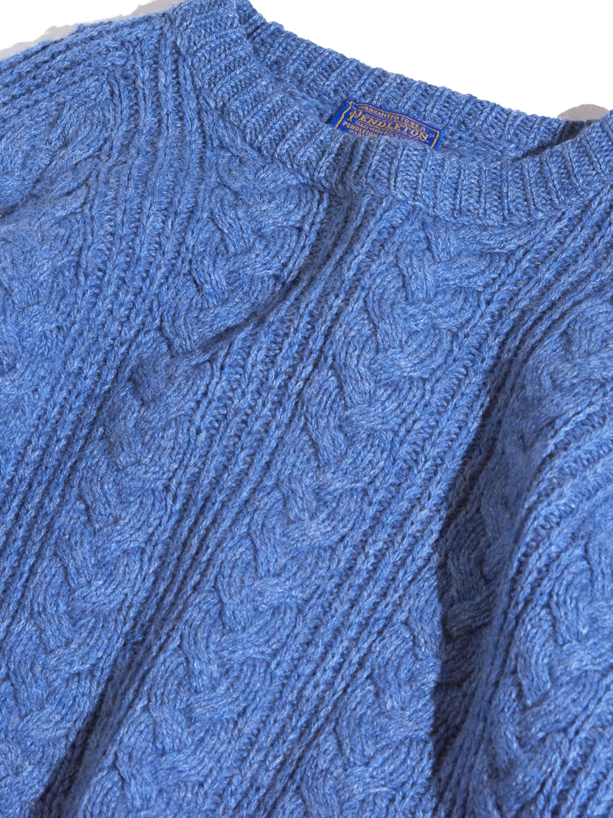 """1970s """"PENDLETON"""" wool knit -SAX BLUE-"""