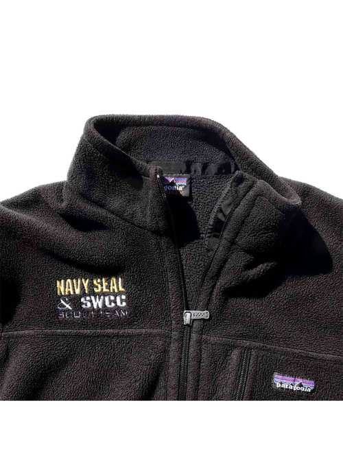 "00's~ PATAGONIA SYNCHILLA ""NAVY SEAL & SWCC"" ブラック フリースジャケット [About L]"