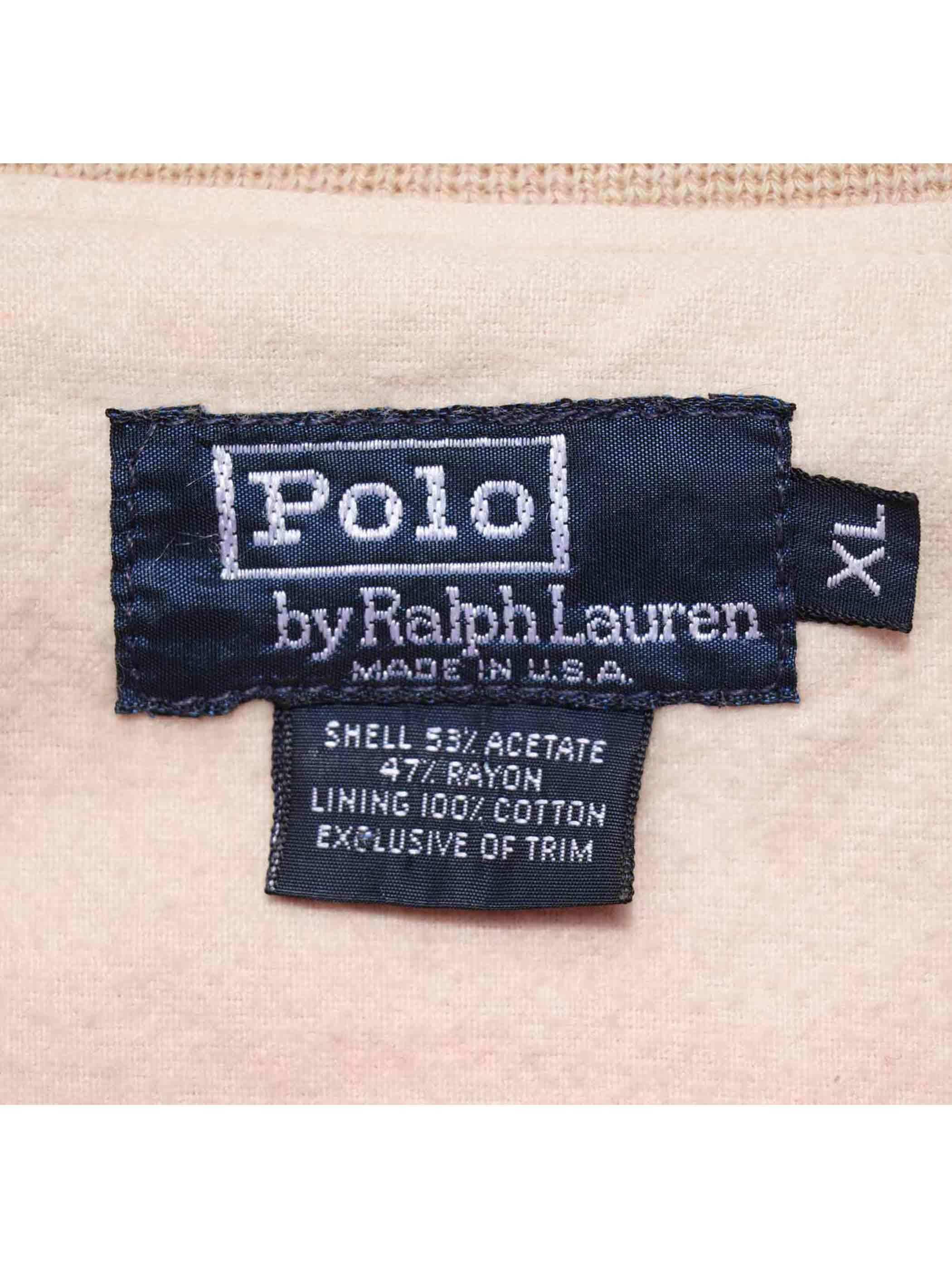 "90's POLO RALPH LAUREN ""POLO BALL"" サテンスタジャン [XL]"