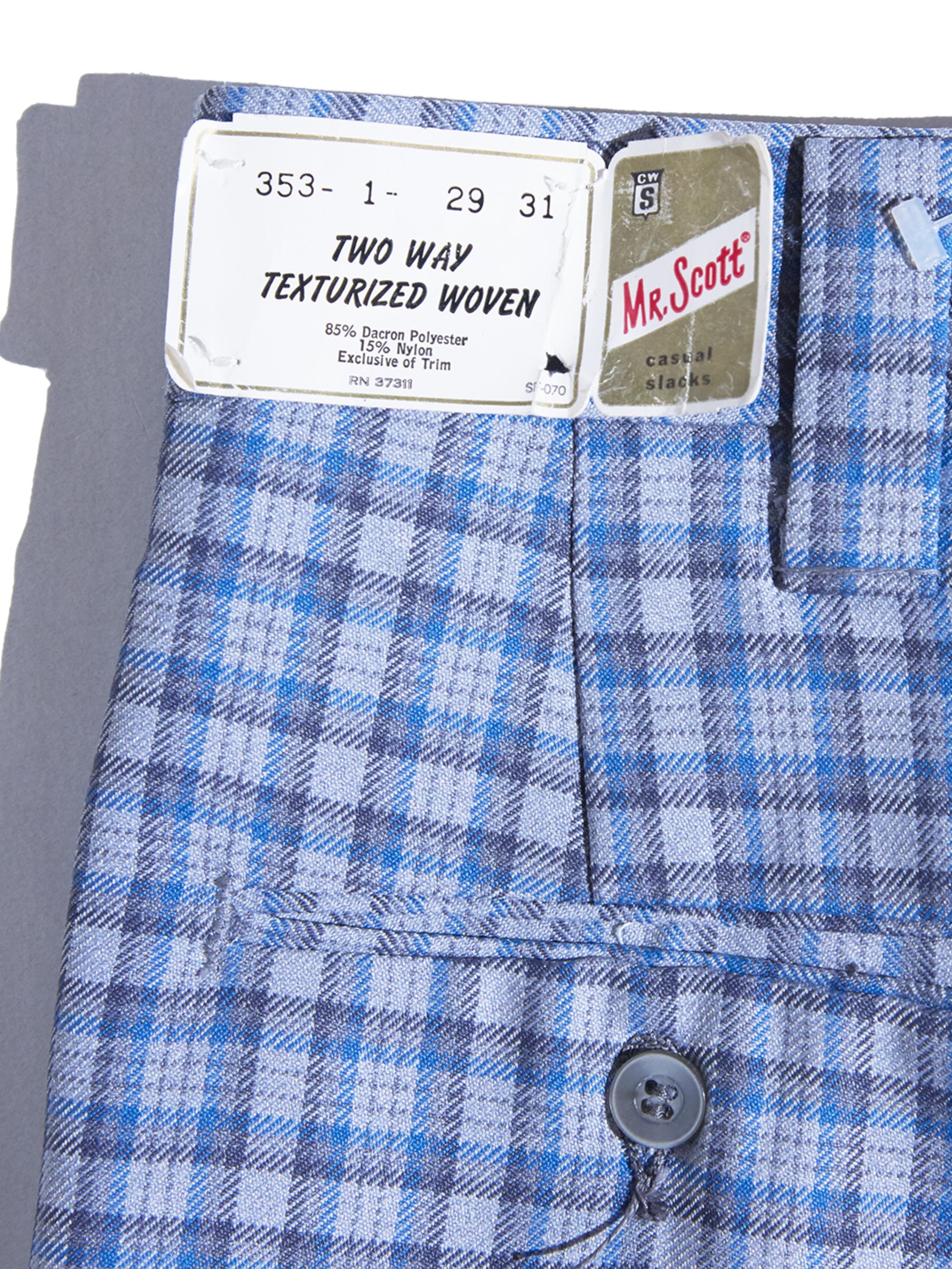 "NOS 1970s ""MR. Scott"" poly flair check slacks -SAX-"