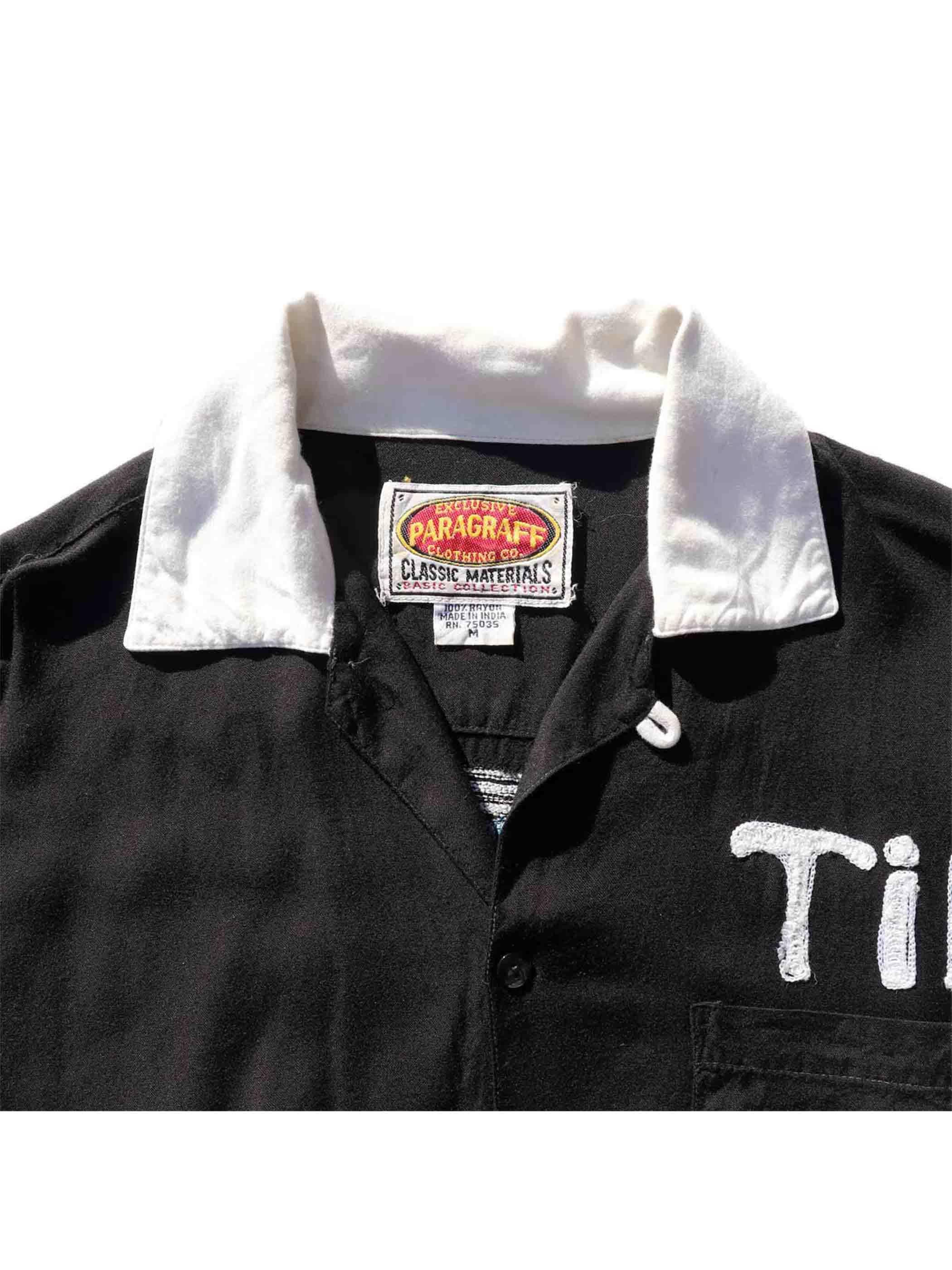 "90's PARAGRAFF ""MADUROS FUNERAL HOME"" Black Bowling Shirt [M]"