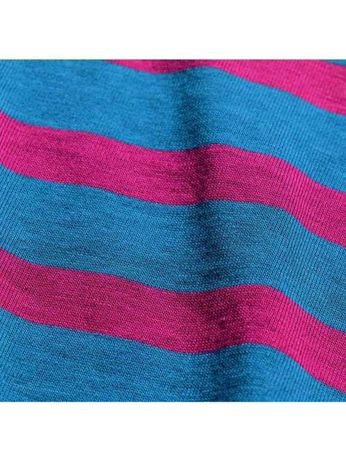 90's MERVYNS CHEETAH ブルーグリーン×ピンク ボーダーTシャツ [XL]