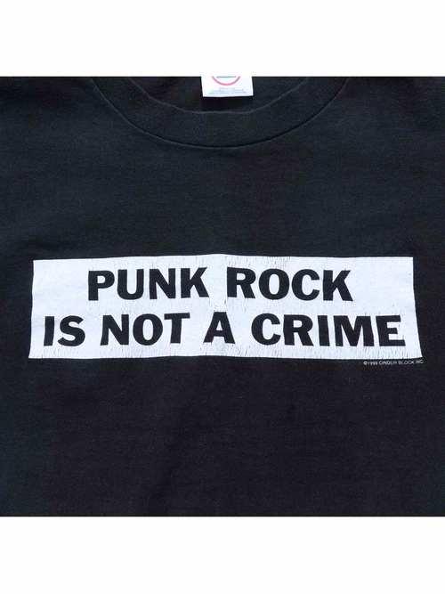 90's PUNK ROCK IS NOT A CRIME ボックスロゴ プリントTシャツ [M]