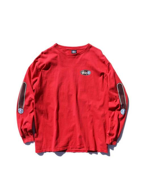 90's STUSSY 紺タグ 袖プリント ロングスリーブTシャツ [L]