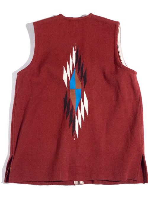 "1970s? ""ORTEGA'S"" big size chimayo vest -ORABGE BROWN-"