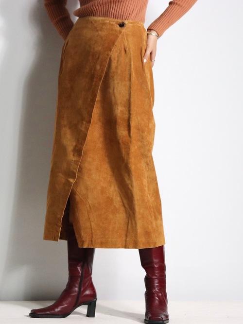 suède leather wrap skirt