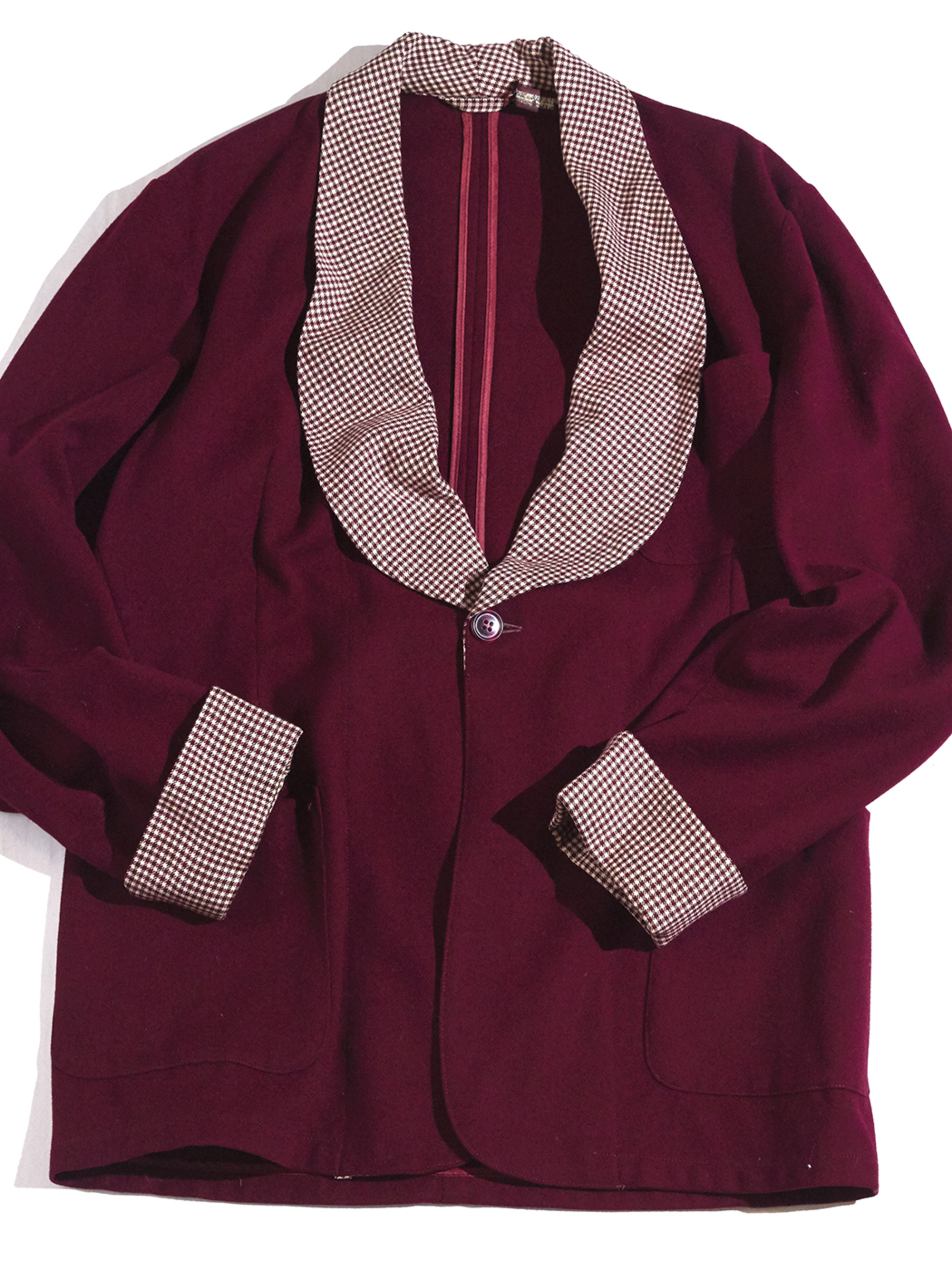 "1940s ""STATE-O-MINE"" wool smoking jacket -BURGANDY-"