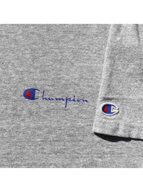 80's CHAMPION USA製 88/12 杢グレー スクリプトロゴ Tシャツ [XL]