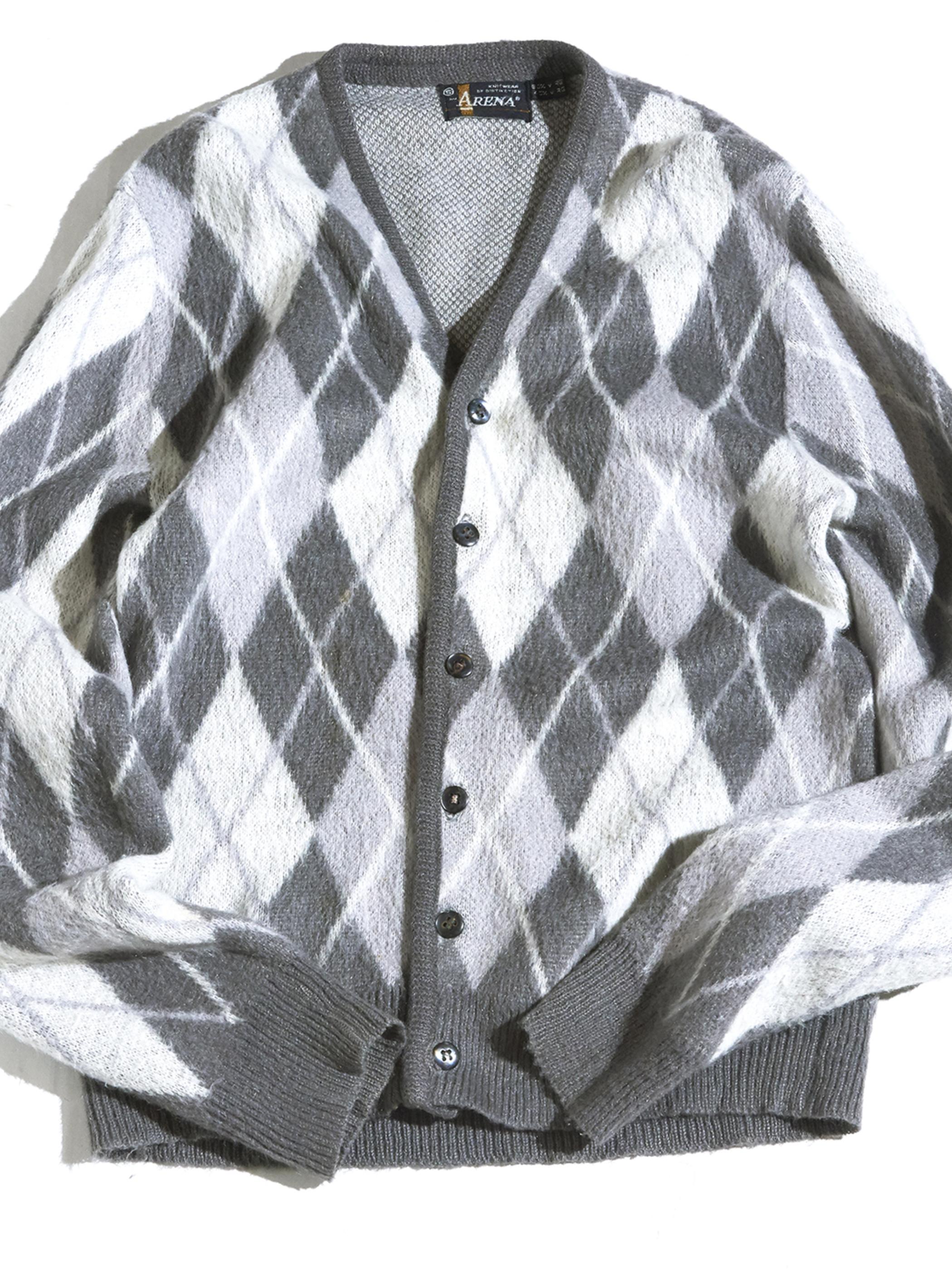 """1970s """"ARENA"""" mohair knit cardigan -WHITE ARGYLE-"""