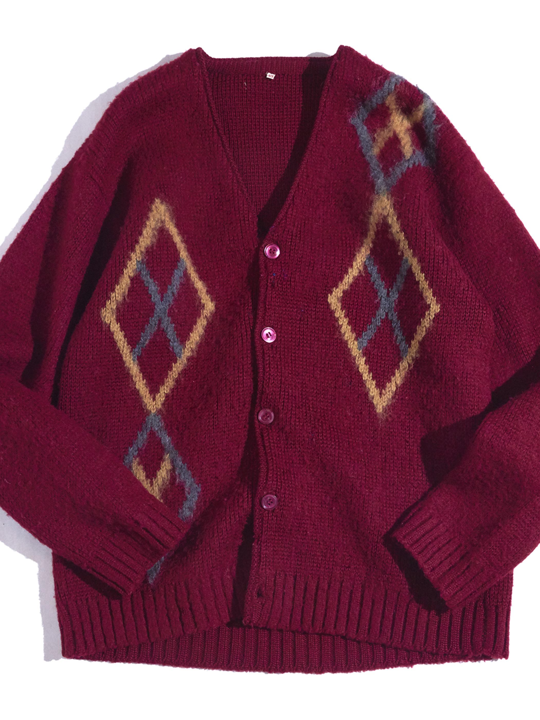 "1960s ""unknown"" wool knit cardigan -BURGANDY-"