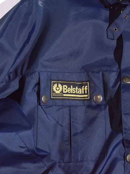 "1990s ""Belstaff"" short length mortorcycle nylon jacket -NAVY-"