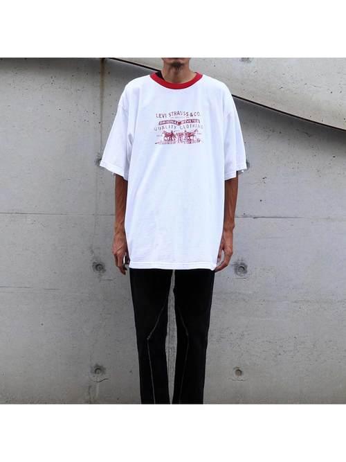 90's~ ブート LEVI'S TWO HORSE LOGO Tシャツ [XL]
