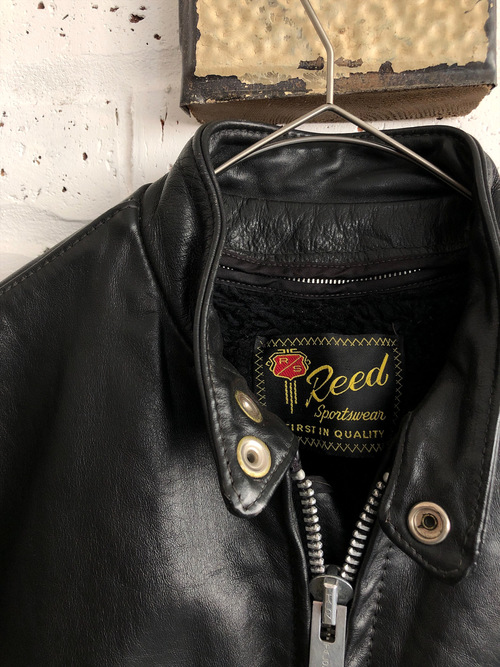 Vintage 70's USA《Reed Sportswear》genuine leather single racing jacket
