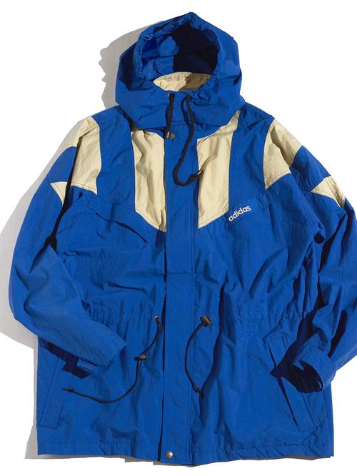"""1980s """"adidas"""" hooded nylon jacket -BLUE-"""