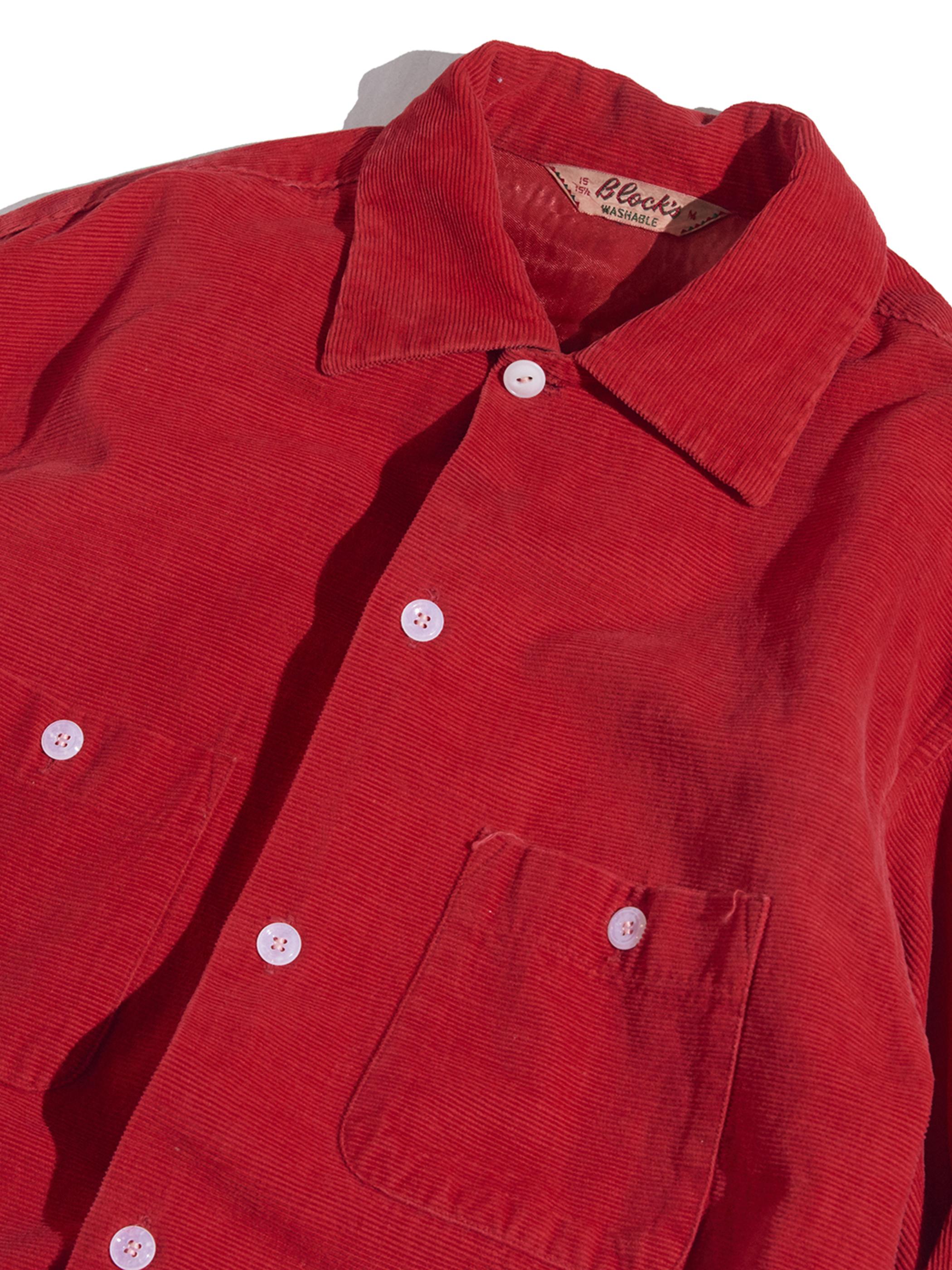 """1950s """"B lock's"""" corduroy shirt -RED-"""