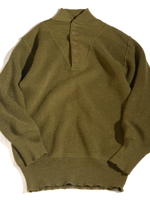 """1940s """"US ARMY"""" 5 button wool knit sweater"""