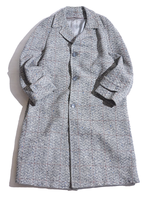 "1960s ""Donshire"" nep tweed check raglan coat -GREY-"