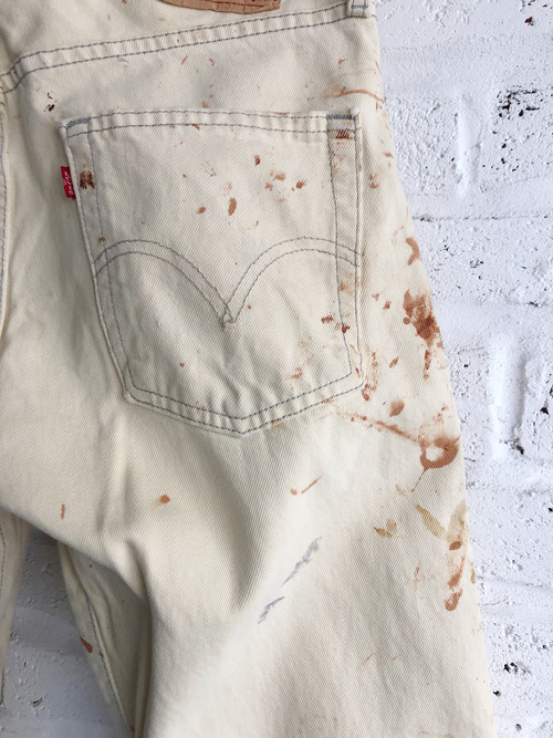 00's Levi's 501 Real Painted Off White Denim Jeans
