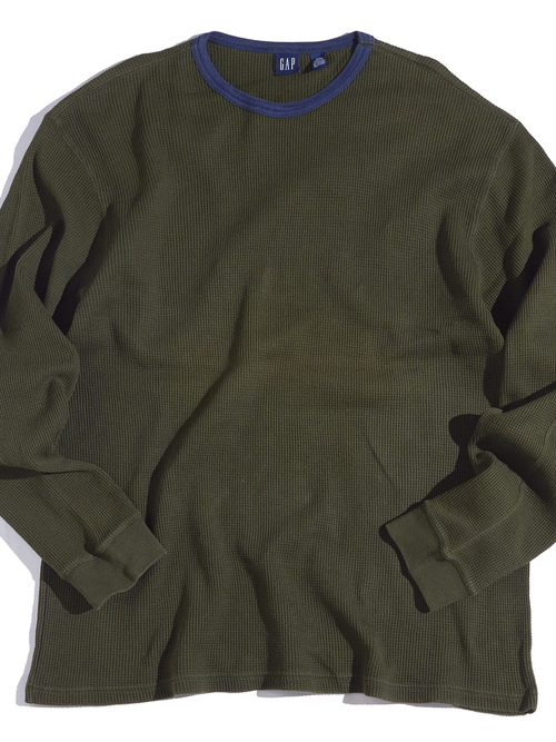 "1990s ""GAP"" cotton thermal -OLIVE-"