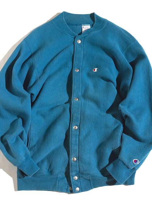 "1990s ""Champion"" R/W snap cardigan -GREEN-"